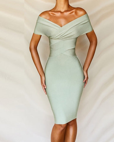 Madisyn Off Shoulder Midi Bandage Dress