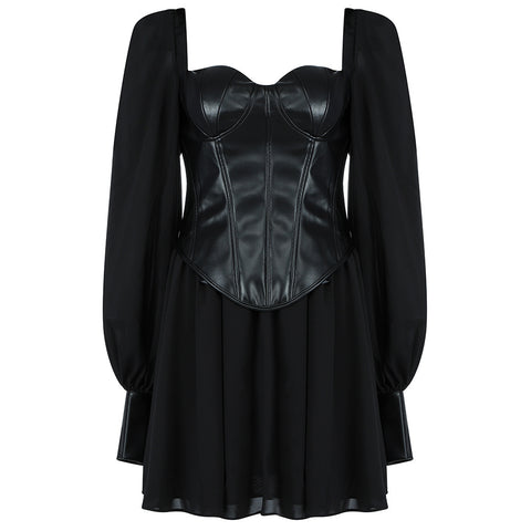 Eleanor Black Sheer Mini Leatherette Dress