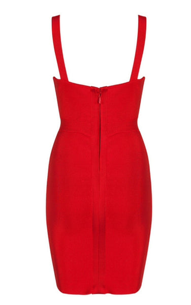 Danila Red Mesh Bustier Bandage Dress