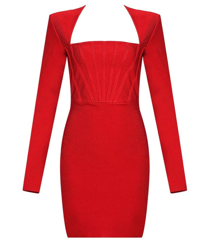 Blakely Red Structured Long Sleeve Mini Dress