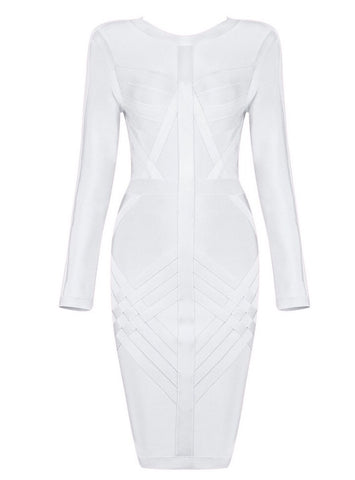 Kiandra White Long Sleeve Bandage Dress