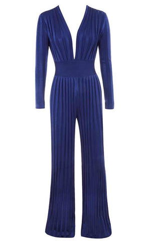 Avril Blue Deep V Neck Long Sleeve Jumpsuit