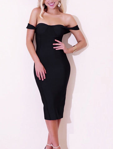 Elsa Black Bandage Dress
