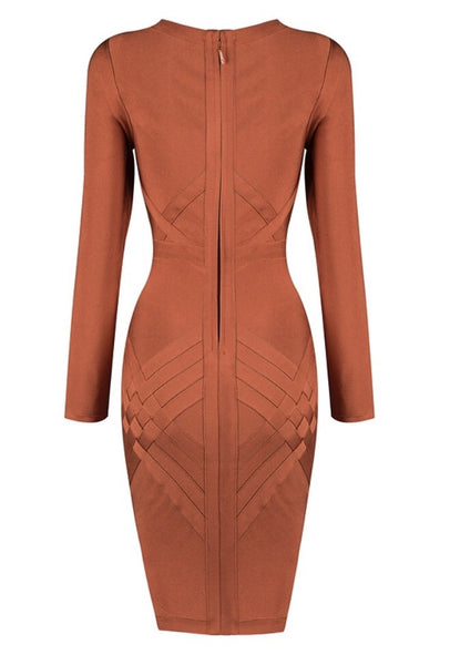 Kiandra Brown Long Sleeve Bandage Dress