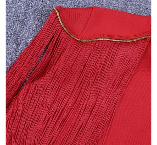 Isabeli Red Tassel Mini Dress