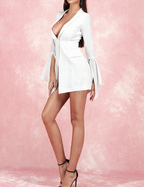 Zora White Asymmetric Long Sleeve Jacket Dress