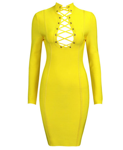 Mae Yellow Long Sleeve Lace Up Front Dress