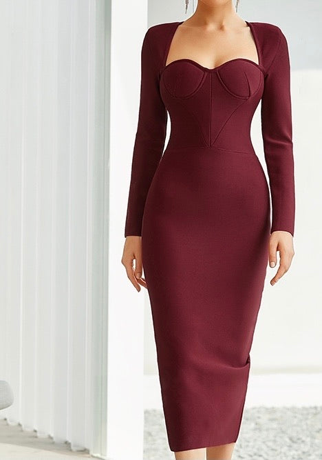 Braelyn Burgundy Long Sleeve Bustier Midi Dress