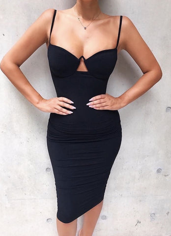 Fabiane Black Bustier Bandage Dress