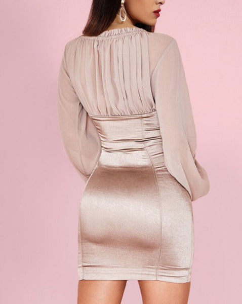 kali Taupe Mesh Long Sleeve Bustier Mini Dress