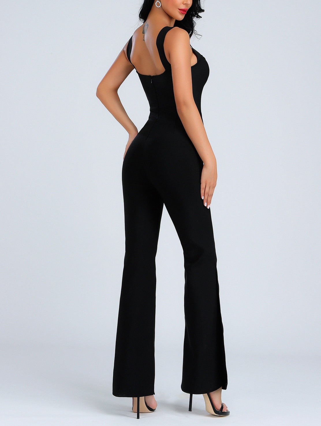 Rebekah Sexy Side Slit Bandage Jumpsuit- Black