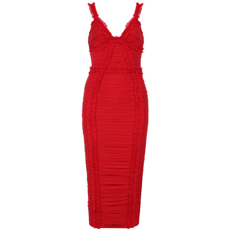 Zariyah Red Midi Bandage Dress
