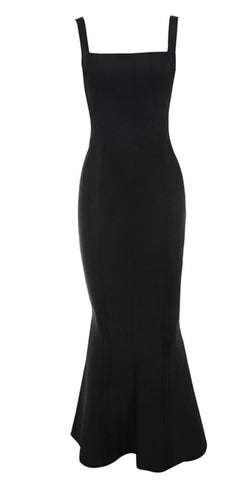 Dory Black Backless Maxi Bandage Dress