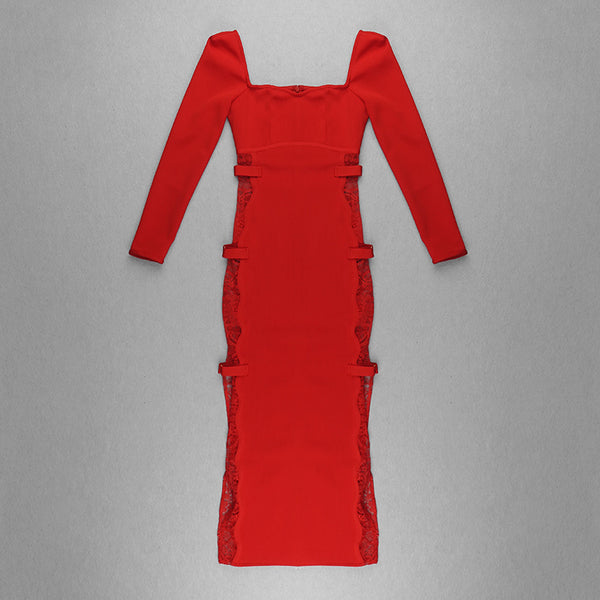 Ailani Long Sleeve Lace Side Red Bandage Dress