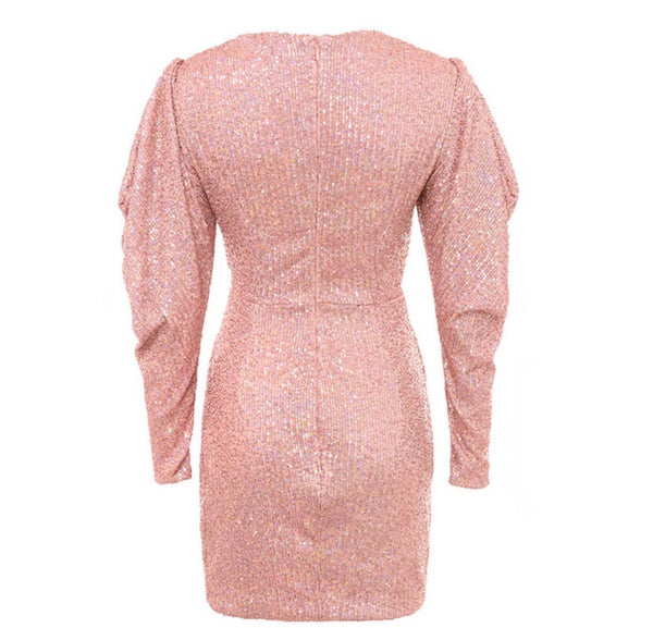 Alexandria Mini V Neck Sequins Wrap Dress