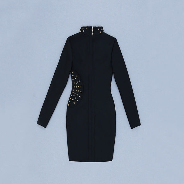 Amalie Black Long Sleeve Studded Bandage Dress