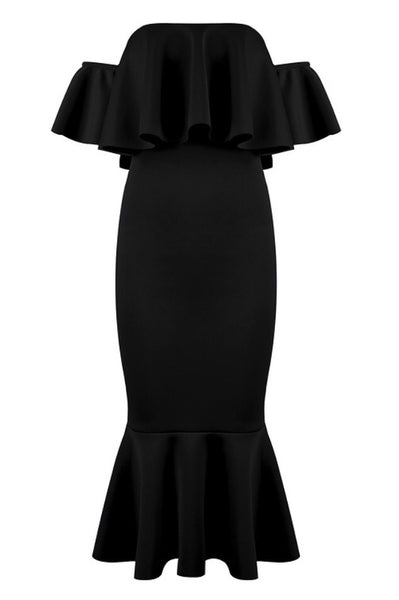 Azalea Black Ruffle Fluted Midi Dress