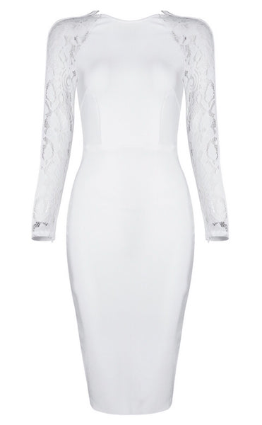Antonella White Lace Bandage Dress