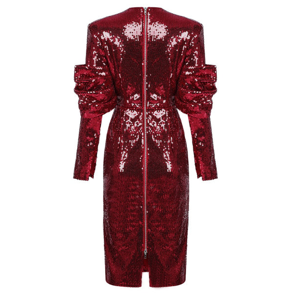 Arabella Red Sparkly Long Sleeve Midi Sequin Dress