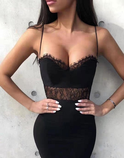 Fran Black Spaghetti Strap Bandage Dress with Lace