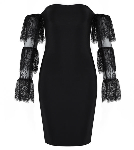Vlada Black Lace Long Sleeve Mini Dress