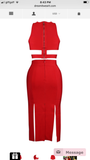 Narmina Red Multi Slit Midi Bandage Dress
