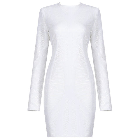 Daniela White Mini Long Sleeve Sequin Dress
