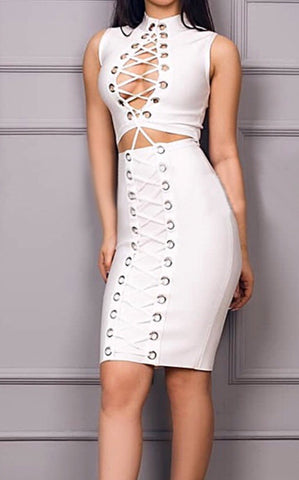 Kristina White Cut Out Lace Up Bandage Dress