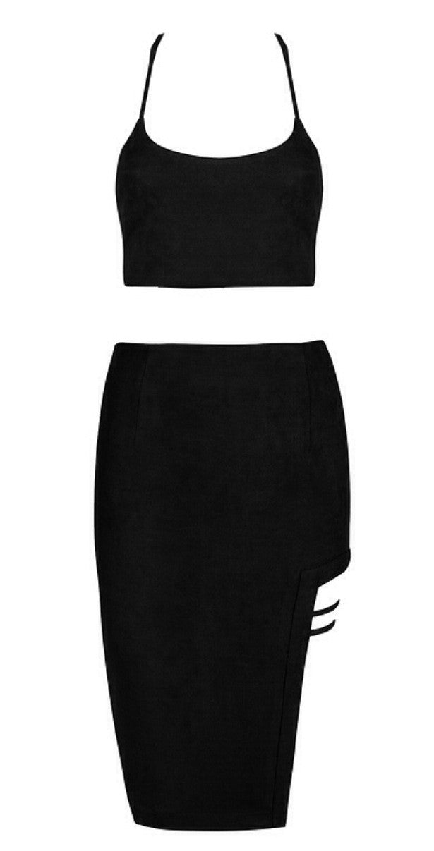 Lorena Black Suedette Two Piece Dress