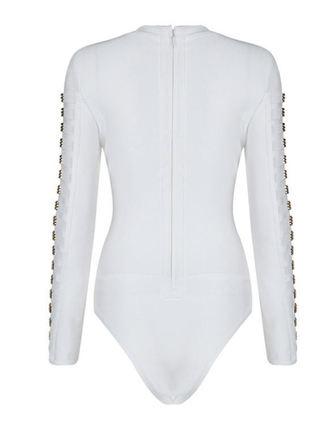 Monica White Bandage Bodysuit