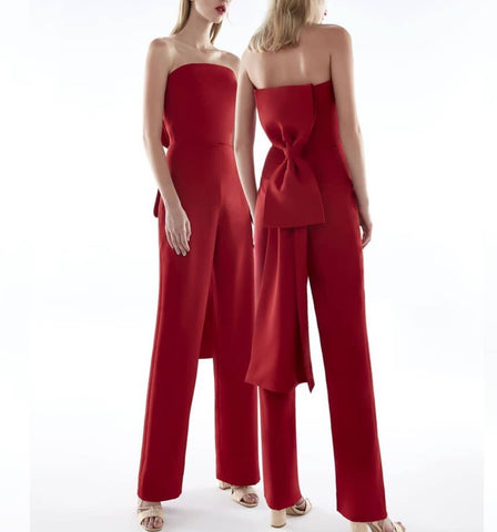 Annette Red Strapless Jumpsuit