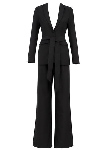 Kori Black Tie Belt Suit Set