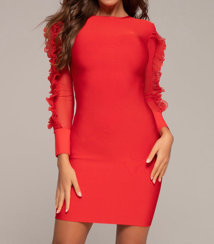 Celine Long Sleeve Frill Detail Red Dress
