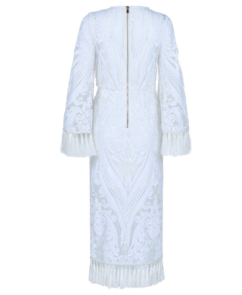 Zofia White Midi Lace Dress