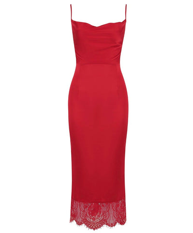 Laney Red Spaghetti Strap Midi Dress with Lace Hem