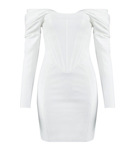 Isla White Long Sleeve Bardot Mini Bandage Dress
