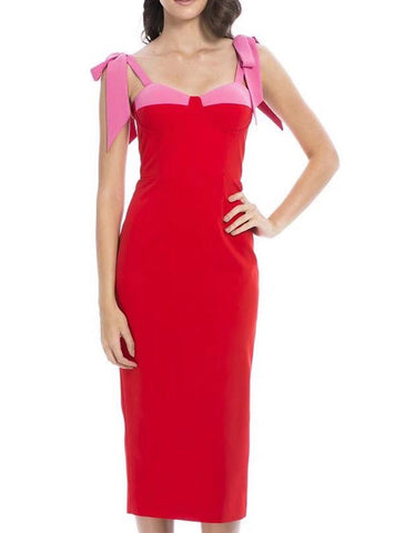 Zariyah Red Pink Midi Bandage Dress