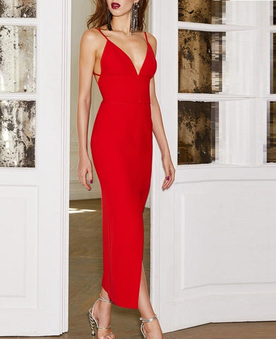 Lila Red Backless Bandage Dress