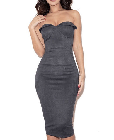 Sophia Gray Suedette Strapless Dress