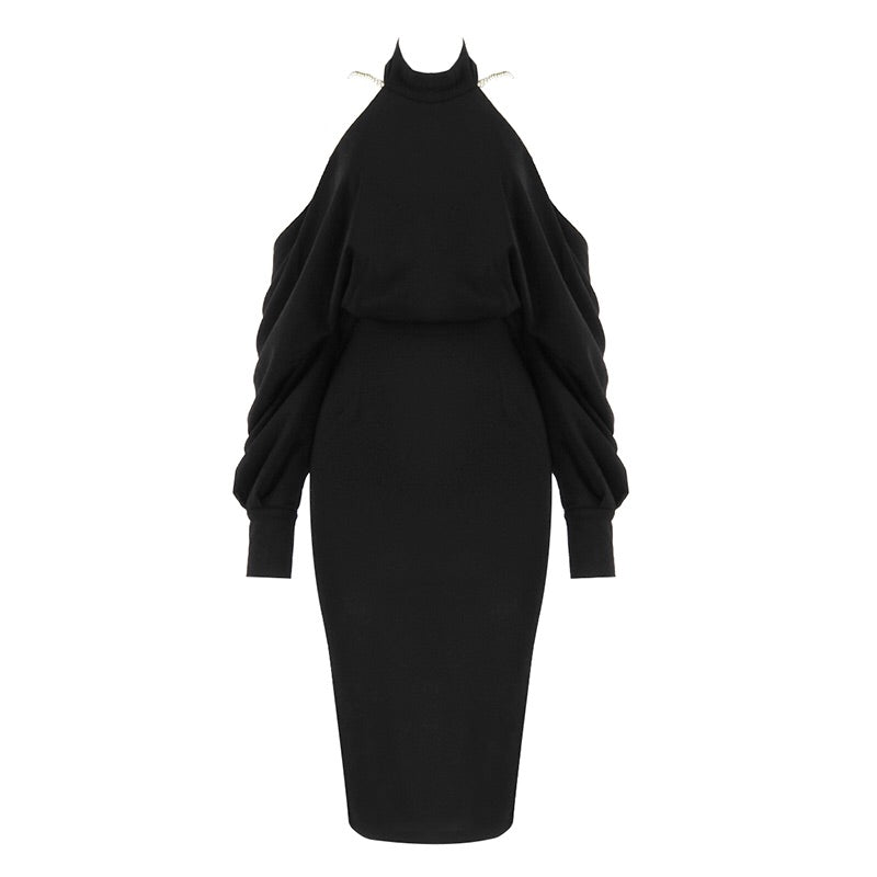 Emersyn Black Long Sleeve Midi Dress with Backless Design