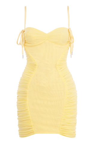 Lila Yellow Spaghetti Strap Mini Dress with Mesh Sides