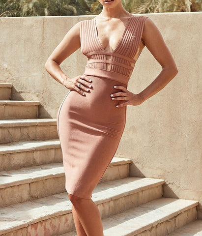 Karlie Beige Deep V Neck Bandage Dress