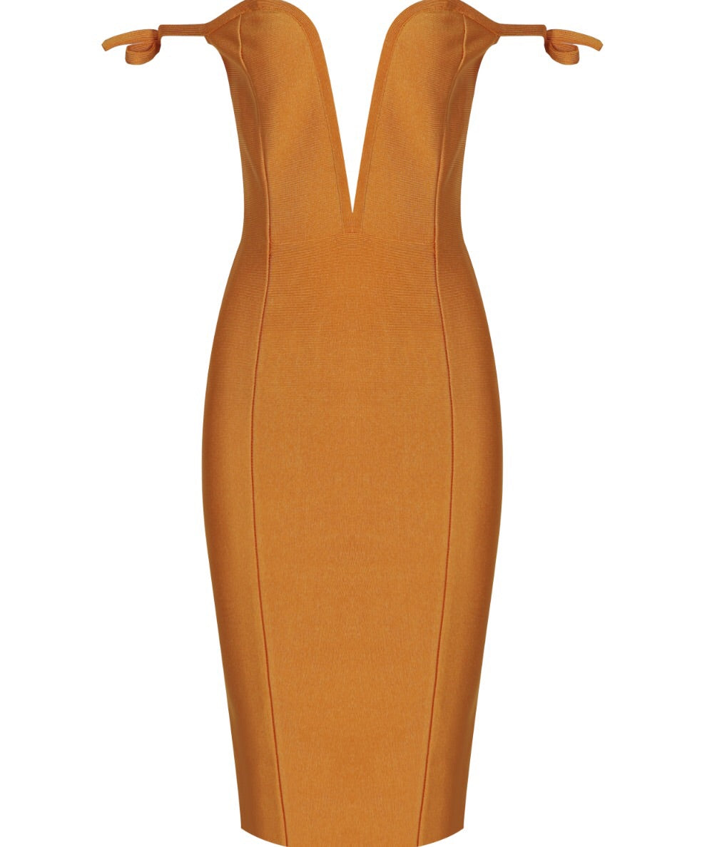 Mona Mustard Off Shoulder Bandage Dress