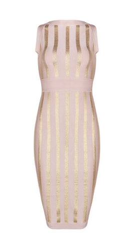 Nala Gold and Pink Stripe Bandage Dress