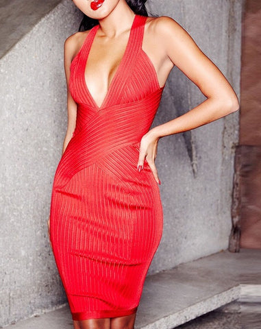 Jaci Red Deep V-Neck Bandage Dress