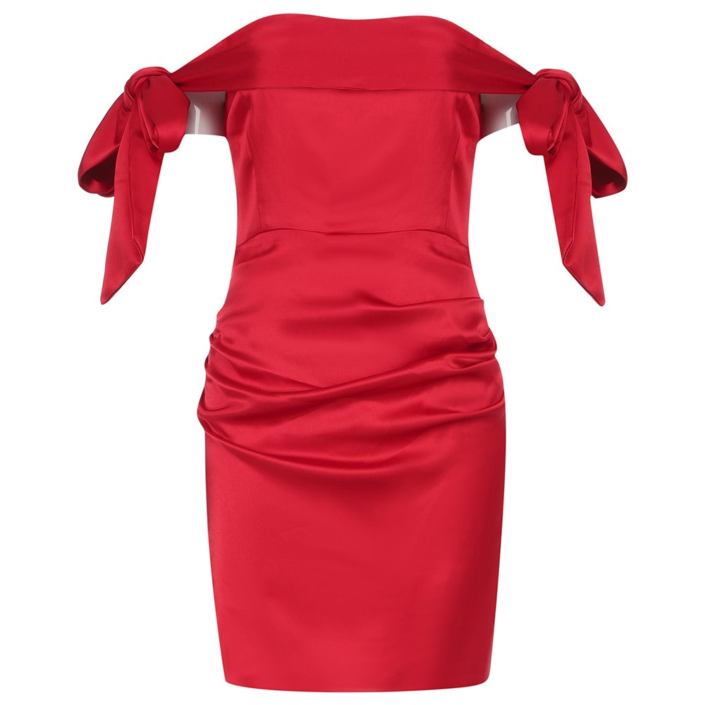 Yani Red Satin Off Shoulder Mini Party Dress