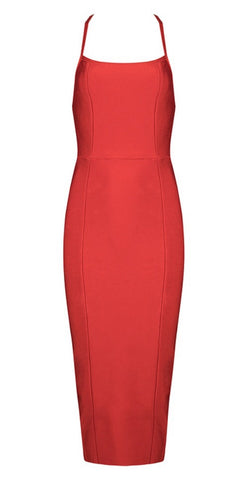 Janice Red Backless Bandage Dress