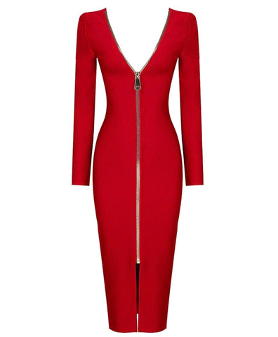 Shannon Red Open Back Long Sleeve Midi Dress