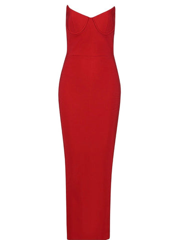 Emily Strapless Red Bustier Maxi Dress