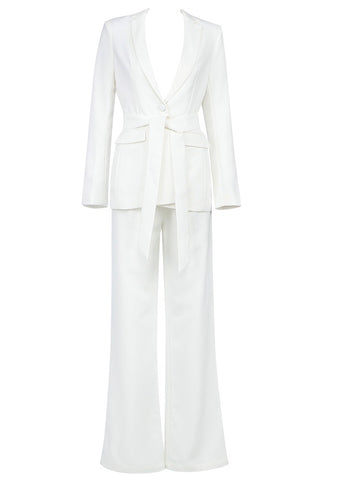 Kori White Tie Belt Suit Set